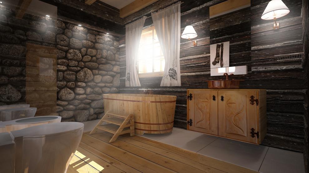 Znane Łazienka w stylu góralskim - Porady i inspiracje łazienki w domu LA-38